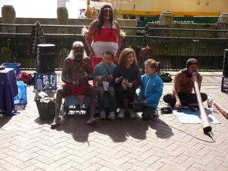 Indigenous Australians busking at Circular Quay