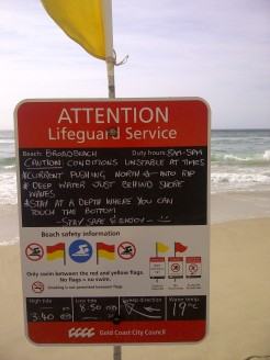 Surf Life sign on the beach at Broadbeach on the Gold Coast, Queenland.