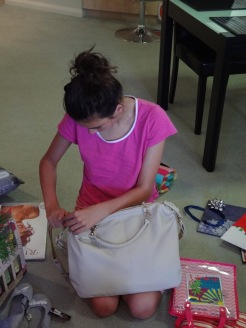 Ciara with her new handbag.