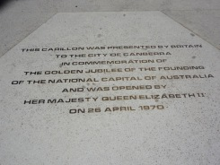 Sign under the National Carillon
