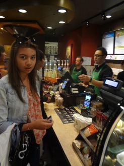 Ciara buying coffee at Starbucks