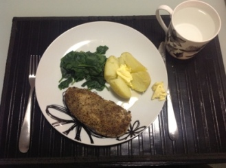 Chicken, Spinach & a small jacket Potato