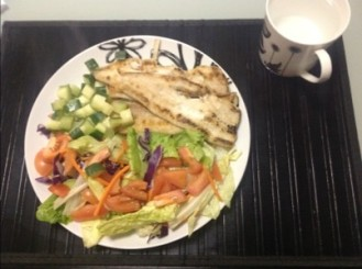 Meal Six - Streamed Fish, Salad, Tomato & Zucchini