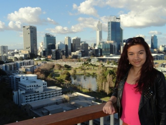 Ciara at the lookout in Kings Park overlooking Perth CBD.