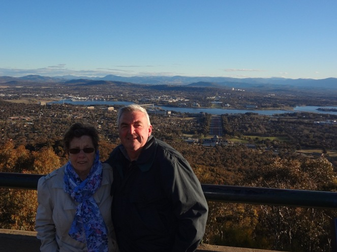 Birthday Boy and mother on Mt Ainslie.