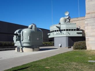 The main gun and bridge of the HMAS Brisbane now located out the Australian War Memorial.