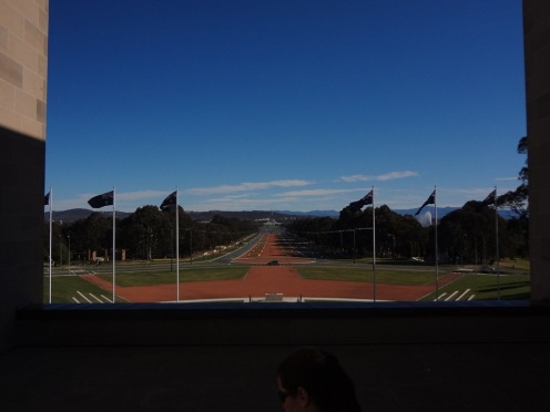 ANZAC Parade from inside the Australian War Memorial