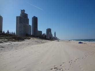 The view from the beach looking north toward Surfers Paradise...