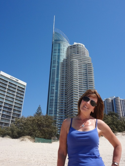 Gail on Main Beach along side Surfers Paradise.