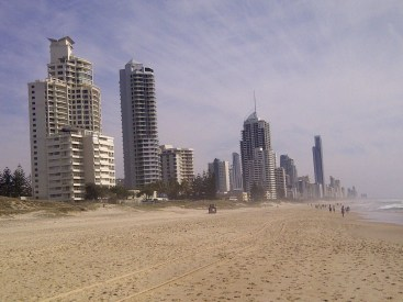 Looking north towards Surfers from the beach opposite the Oceana, Broadbeach.
