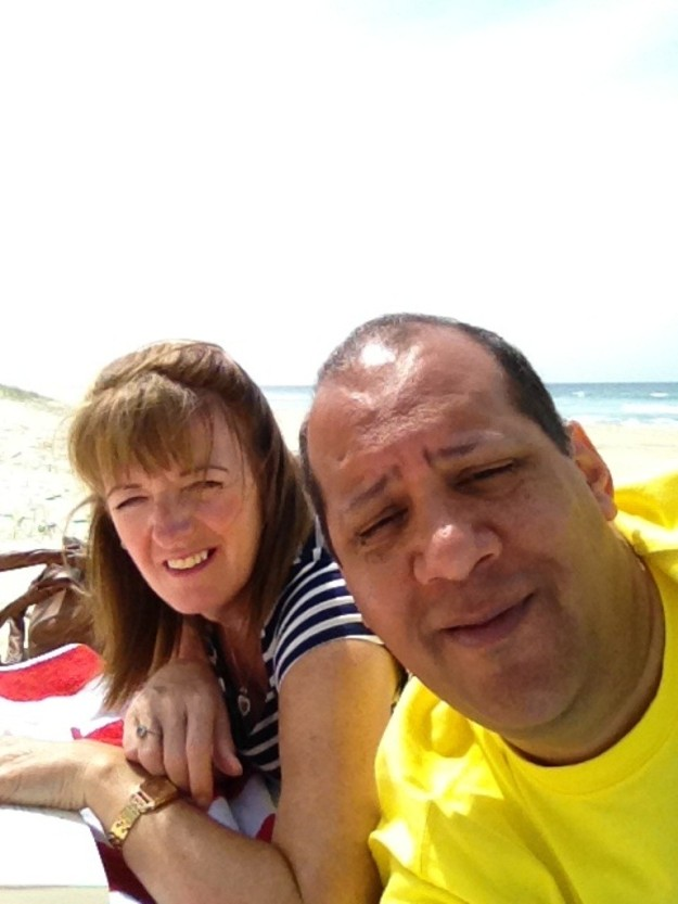 Messing around on the beach.