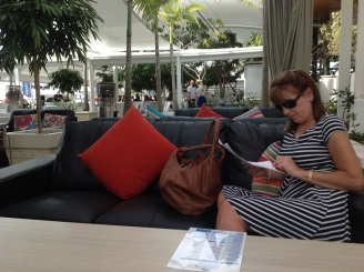 Gail checking out the boat prices!