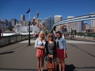 The girls under the Sydney Monorail