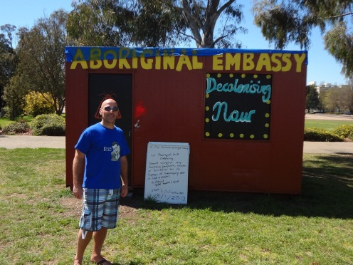 The Aboriginal Embassy outside Old parliament House