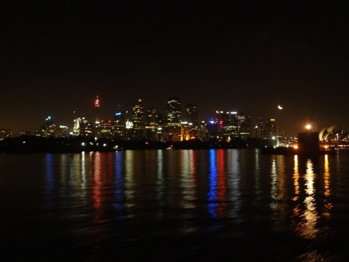 Sydney CBD at night from the Manly ferry