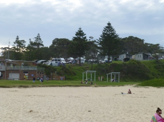 The campsite overlooking Surfers Beach at Narooma.