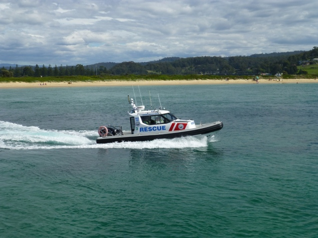 The marine Rescue boat taking some visitors out for a trip.