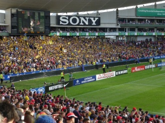 Central Coast Mariners fans at the other end of the ground