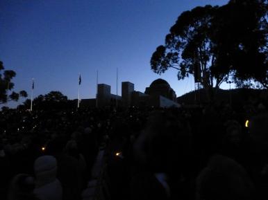Dawn breaks over the War Memorial