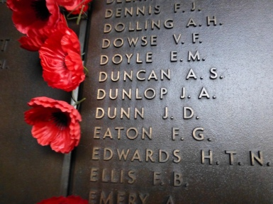 My poppy next to the name 'Dunlop' on the Roll of Honour.