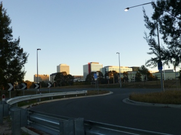 Woden CBD from the cycle path.