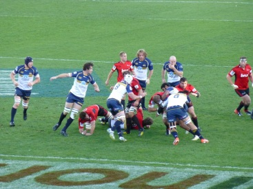The Brumbies defending their line.