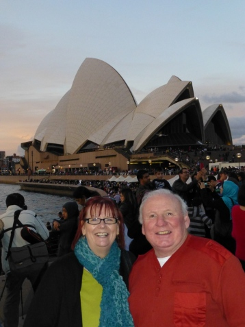 Barbara & Lawrence with the Opera House behind.