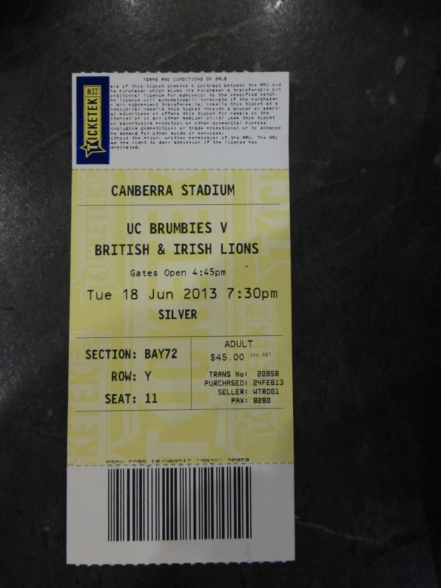 My ticket for the match
