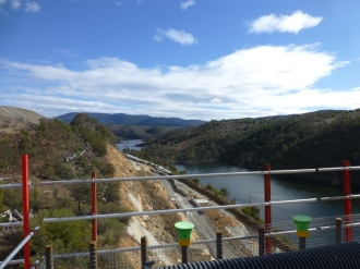 On top of the dam wall.