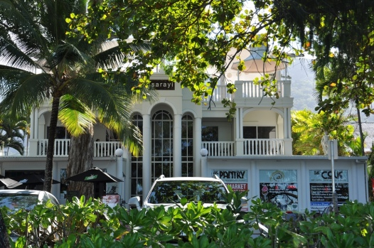 Our hotel, the Sarayi from the beach at Palm Cove.