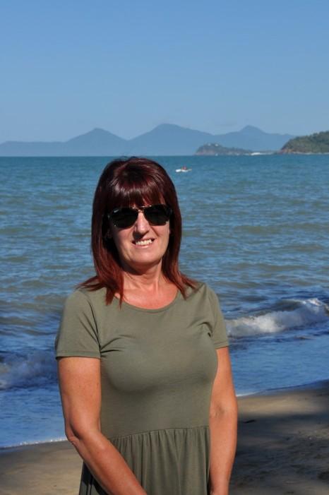 Gail on the beach at Palm Cove