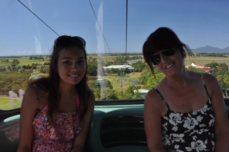 Ciara and Gail inside the cable car