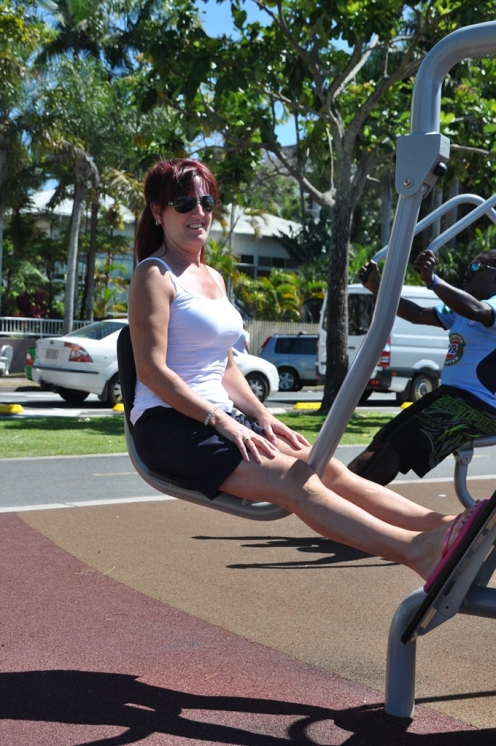 Gail looking good on the gym equipment.
