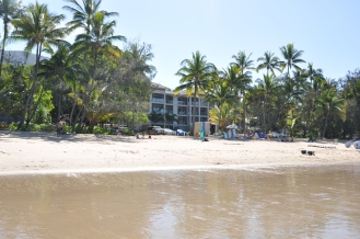 Looking into the resort from the sea.