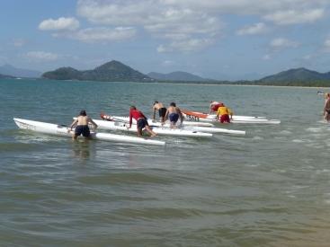 Surf Life Saving practising their skills.