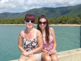 Gail and Ciara on the jetty at Palm Cove.