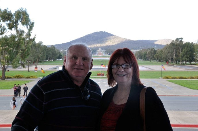 Lawrence & Barbara outside the Old Parliament Building