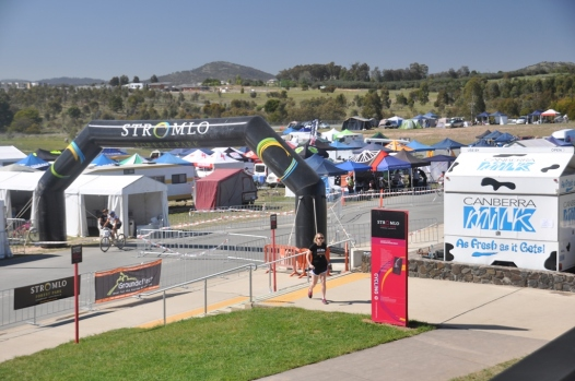 The start and finish line at Mt. Stromlo