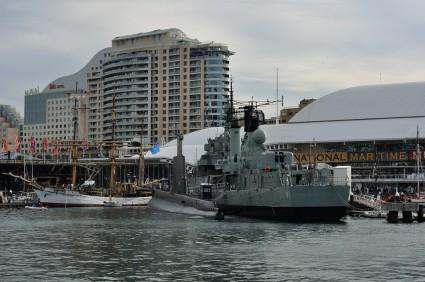 Tall ships and warships at Darling Harbour
