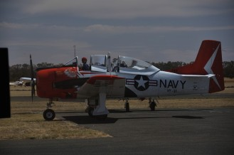 the third T-28 Trojan sets off