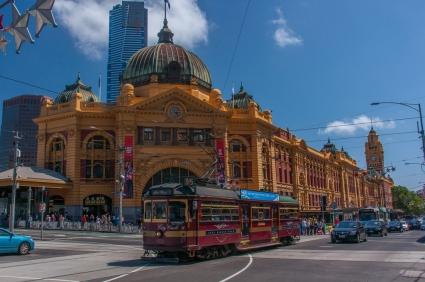Tram running past Finders Street Station