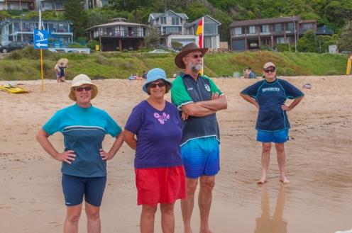 Meryl , Kath, Keith and Glenn on Mollymook Beach