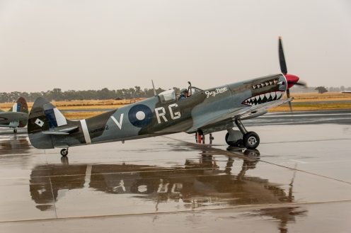 The Mk16 Spitfire on its way out to the runway.