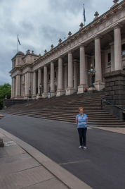 Mother outside the Victoria parliament House
