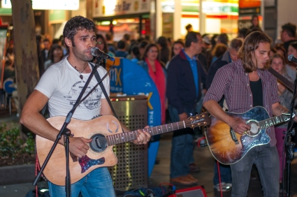 Some of the entertainers at the start of the White Night Festival.