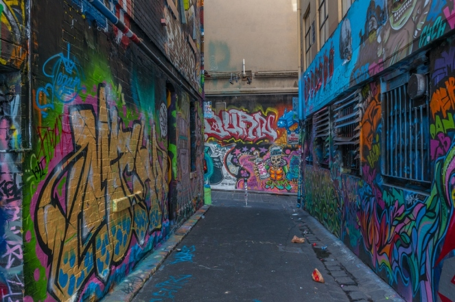 Street art in an alleyway just off Flinders Street