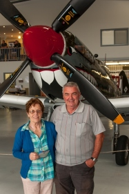 Mother and father in front of the Mk16 Spitfire