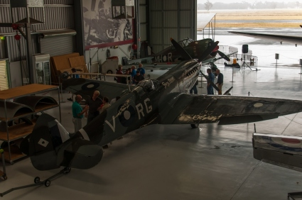 The Mk16 Spitfire and CAC Boomerang in the engineering hanger