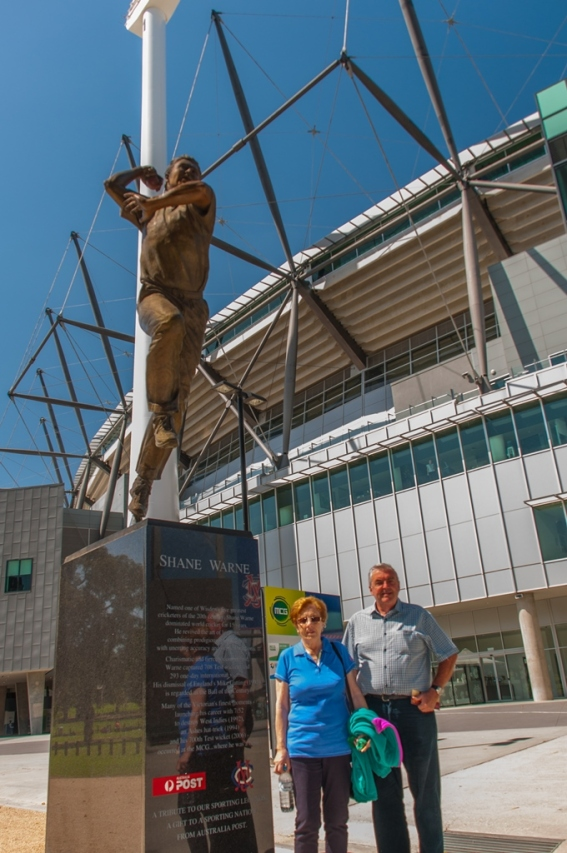 Standing by the statue of Shane Warne