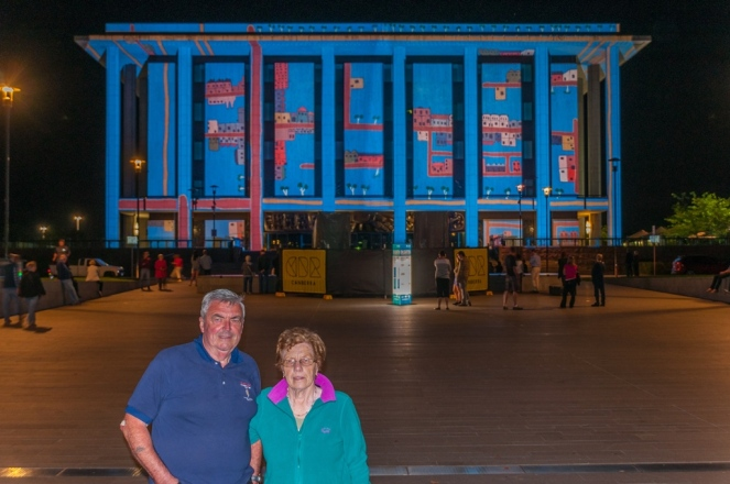 Mother and father outside the National Library .